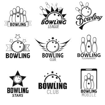 Set di etichette e icone di bowling