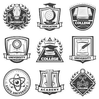 Set di etichette educative monocromatiche vintage