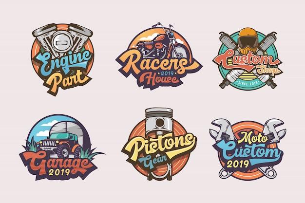 Set di etichette, emblemi e logo distintivi garage d'epoca