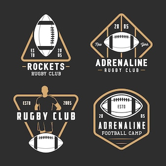 Set di etichette, emblemi e logo vintage rugby e football americano.