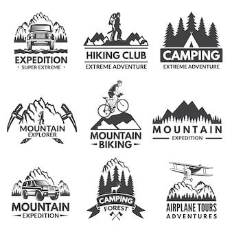 Set di etichette explorer. foto di viaggio