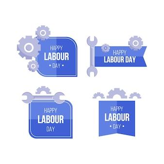Set di etichette festa del lavoro design piatto