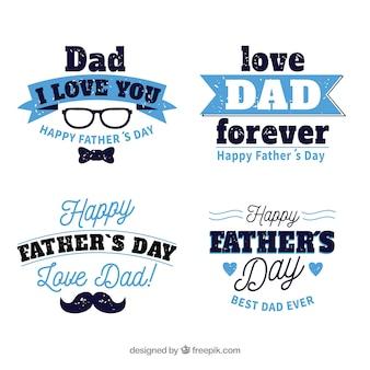 Set di etichette festa del papà con diversi elementi