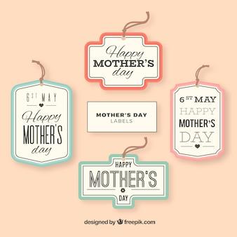 Set di etichette festa della mamma in stile piatto