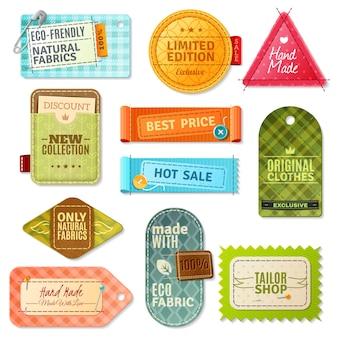 Set di etichette in tessuto