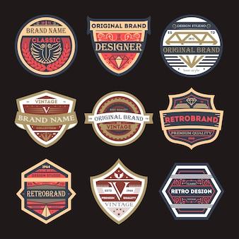Set di etichette isolato marchio vintage originale