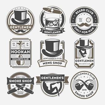 Set di etichette isolato vintage gentiluomo