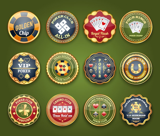 Set di etichette lucide di poker
