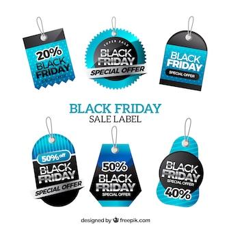 Set di etichette moderne nere di venerdì