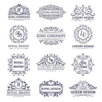 Set di etichette monocromatiche con un design di lusso