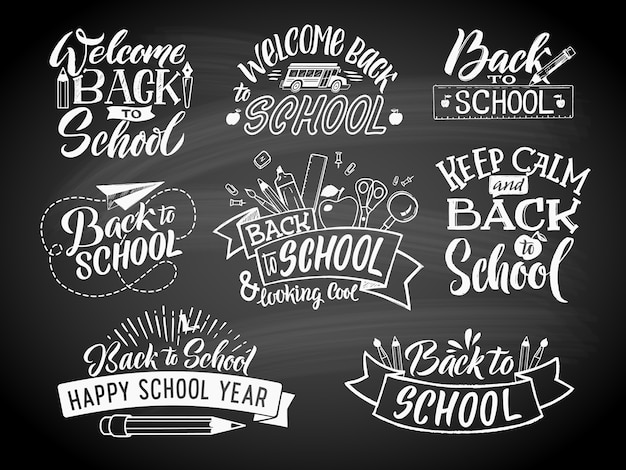 Set di etichette monocromatiche della scuola. disegno dell'emblema di vettore per centro di educazione o università