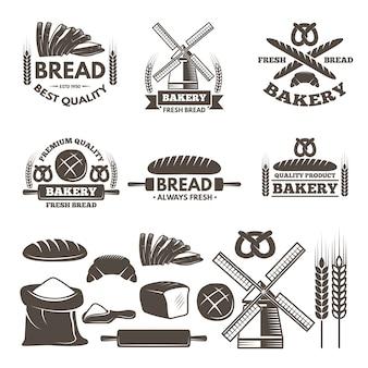 Set di etichette monocromatiche per negozio di prodotti da forno.