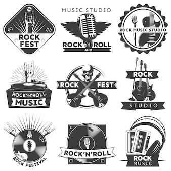 Set di etichette musicali isolato nero