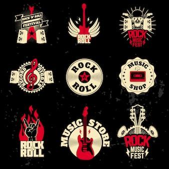 Set di etichette musicali su sfondo grunge.