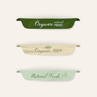 Set di etichette naturali e design distintivi organici.