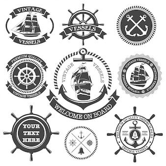 Set di etichette nautiche d'epoca, icone ed elementi di design