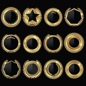 Set di etichette nere medaglia d'oro