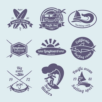 Set di etichette o distintivi surf