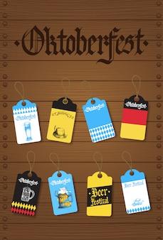 Set di etichette o etichette dell'oktoberfest festa della birra tedesca