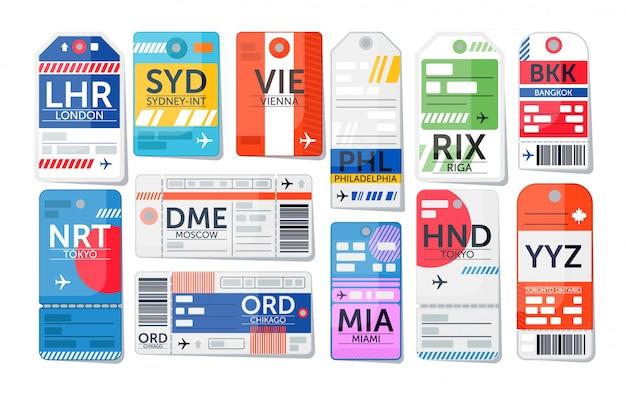 Set di etichette per bagagli. biglietto del bagaglio aeroportuale