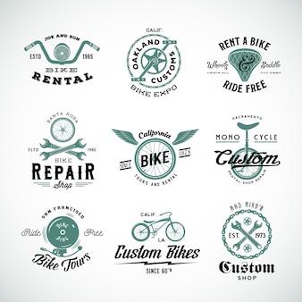 Set di etichette per biciclette retrò o modelli di logo