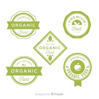 Set di etichette per frutta biologica piatta