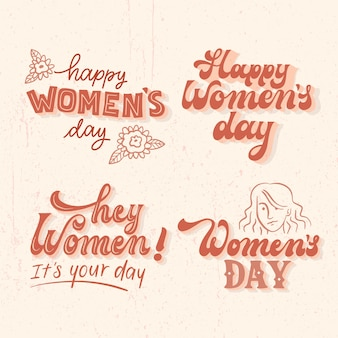 Set di etichette per il giorno delle donne scritte
