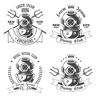 Set di etichette per immersioni, emblemi ed elementi progettati