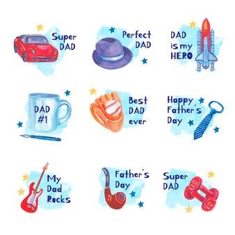 Set di etichette per la festa del papà dell'acquerello