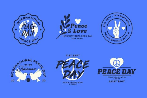 Set di etichette per la giornata internazionale della pace