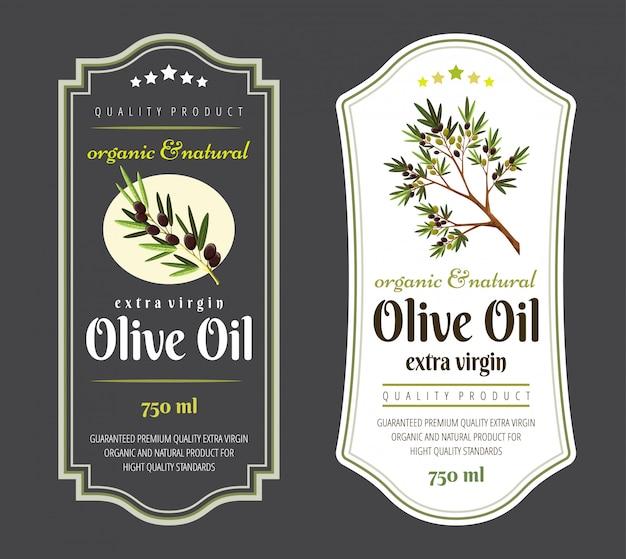 Set di etichette piatte e badge di olio d'oliva.