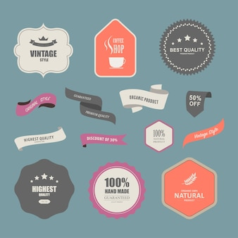 Set di etichette premium per design stile vintage