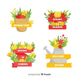 Set di etichette primavera elementi da giardino