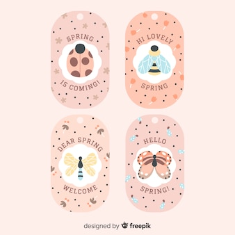 Set di etichette primavera insetti