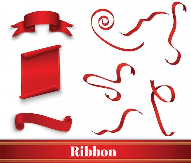 Set di etichette rosse scroll.banner. carta avvolta.