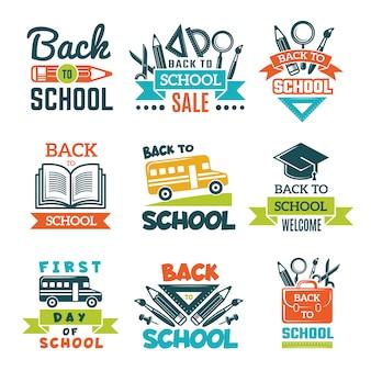 Set di etichette scolastiche. torna al tema della scuola