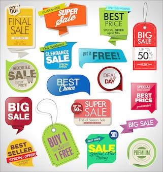 Set di etichette, tag, nastri e distintivi di vendita