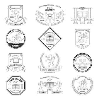 Set di etichette universitarie