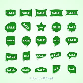 Set di etichette verdi di vendita