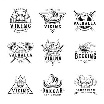 Set di etichette viking, emblemi e logo