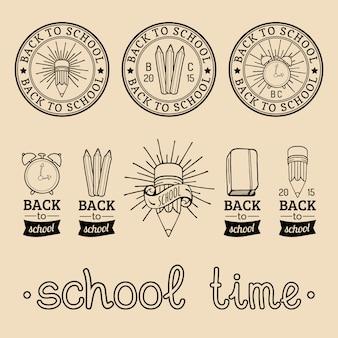Set di etichette vintage back to school. segni retrò, raccolta di icone con attrezzature educative. concetti di progettazione del giorno della conoscenza.