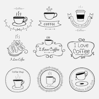Set di etichette vintage caffè retrò.