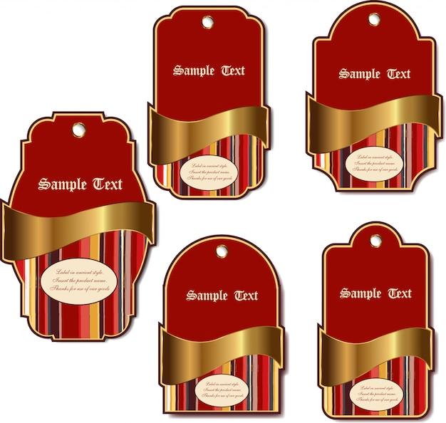 Set di etichette vintage di lusso isolato su sfondo bianco