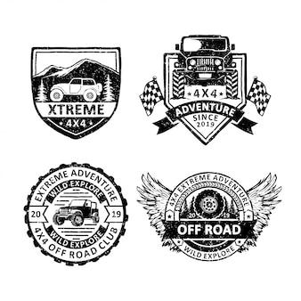 Set di etichette vintage distintivi fuoristrada, emblemi e logo