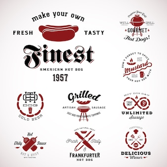 Set di etichette vintage hot dog o segni con tipografia retrò