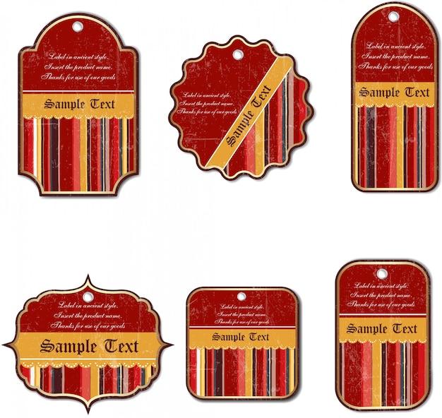 Set di etichette vintage isolato su sfondo bianco
