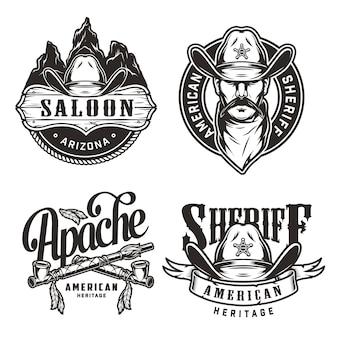 Set di etichette vintage wild west