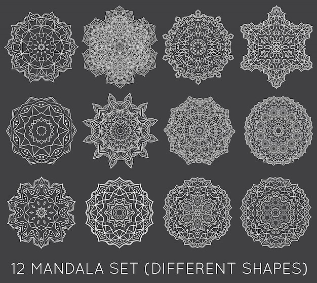 Set di etnico frattale mandala meditation