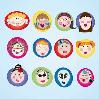 Set di facce colorate di icone di ragazze