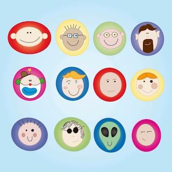 Set di facce colorate icone di persone